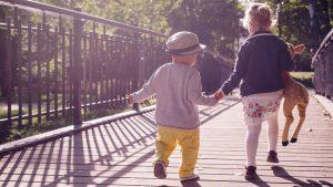 kids on a bridge